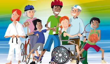 groupe partant faire du sport comprenant une personne agées, une personne en fauteuil roulant, un enfant...