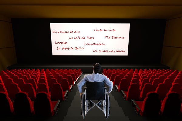 Personne handi regardant les films sur le sujet