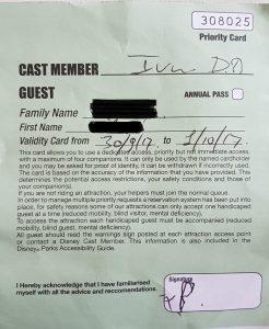 Carte de priorité à Disneyland Paris