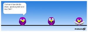 trois oiseaux sur un fil. l'un parle de voir le bon coté des choses - optimisme
