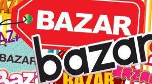 quand consommer amène au bazar; mot bazar écrit en différentes couleurs et police d'écriture sur fond rouge
