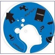 déménagement, silhouette blanche d'un visage fémininavec des icones noires tournant autour ((danger, maison) le tout dans une bulle bleue