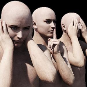 personnages humain féminin qui se couche les oreilles, a le doigt sur la bouche et ferme les yeux.